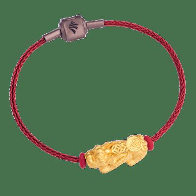 Lắc tay Vàng 24K PNJ Tỳ hưu chữ Lộc dây màu đỏ 0000Y001188