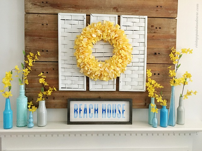 Vintage Paint and more... a summer mantel diy'd with painted bottles, fabric rag wreath, and chalk couture sign