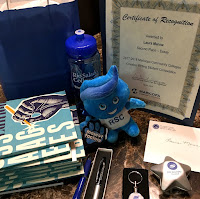 Image of Manna's awards and gifts for her achievement, including a Rio Salado mascot plush