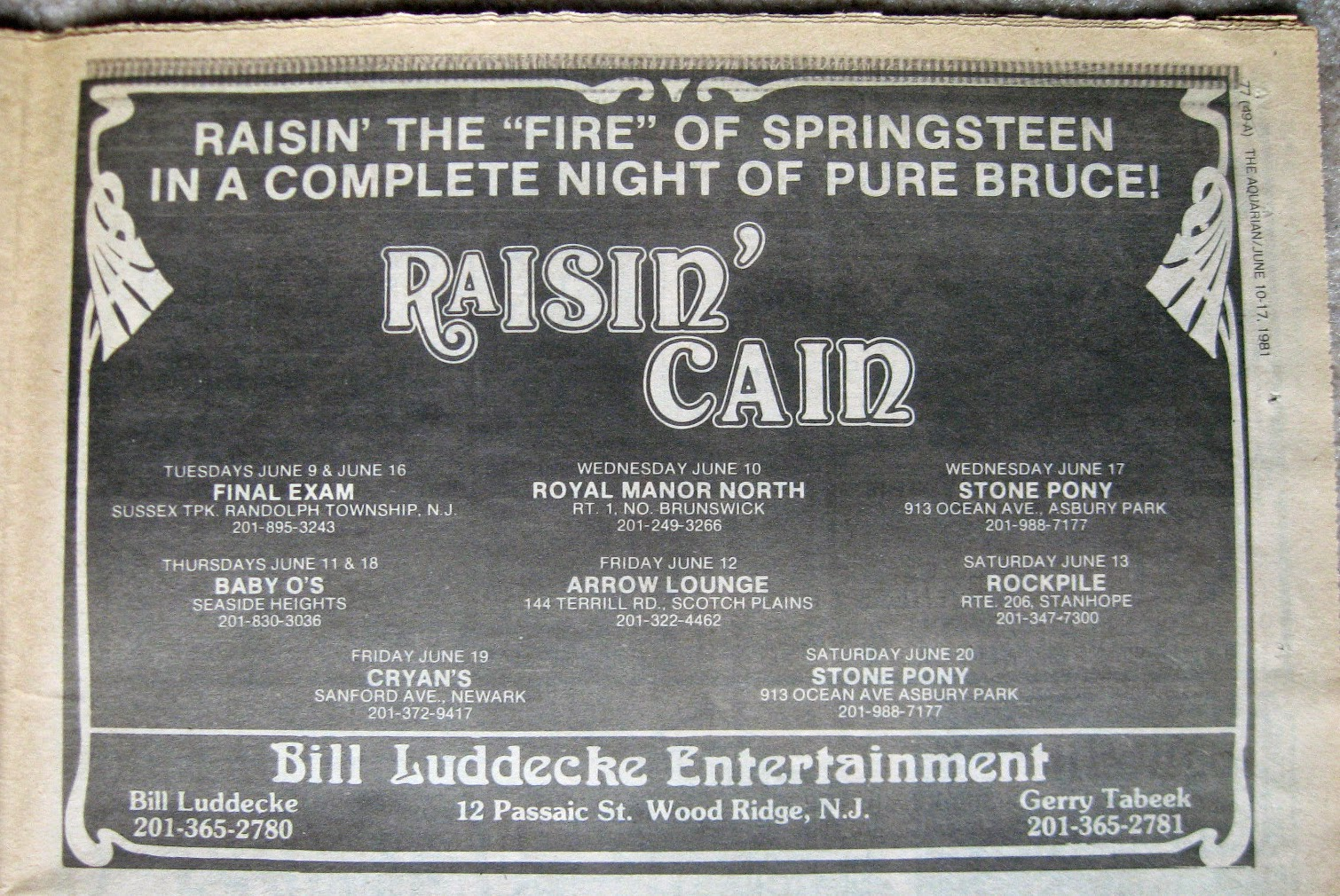 Rasin' Cain club schedule 1981