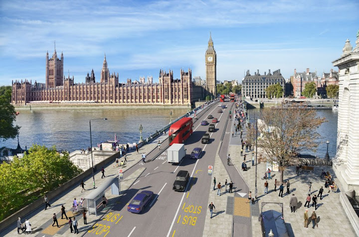 TfL image of possible new cycle track on Westminster Bridge