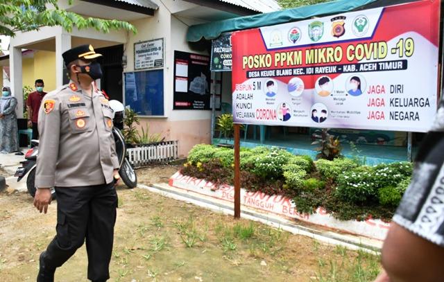 Jelang Idul Fitri, Kapolres Aceh Timur Bersama Bupati dan Dandim 0104 Cek Posko PPKM Mikro