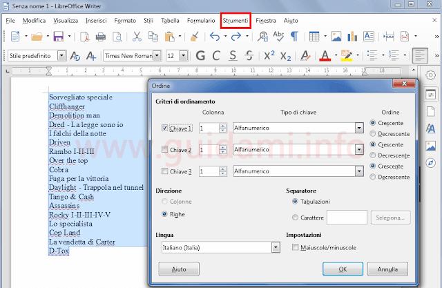 LibreOffice Writer procedura per ordinare alfabeticamente una lista di parole