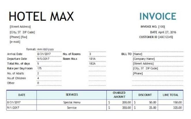 contoh invoice hotel