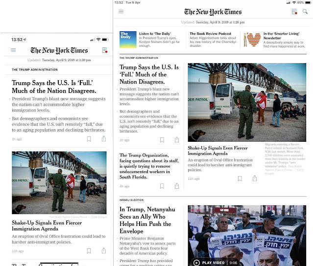 The New York Times app displaying the same front page on iPhone XR (left) and iPad mini (right)
