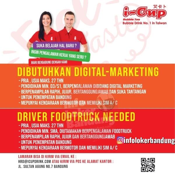 Lowongan Kerja Digital Marketing & Drivier Food Truck I-Cup Bubble Drink Bandung Oktober 2019