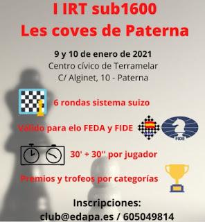 PRESENCIAL, URGENTES, 9-10 enero, IRT S-1600 Les coves de ... -EL TORNEO SE TRASLADA A SILLA-