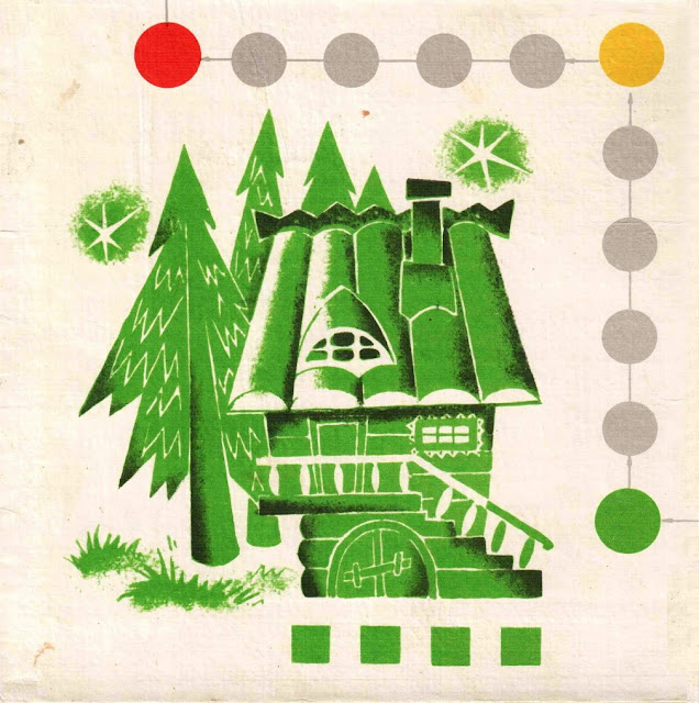 Игра СССР красный, синий, зелёный, жёлтый дом цветные, колпачки, фишки, дома