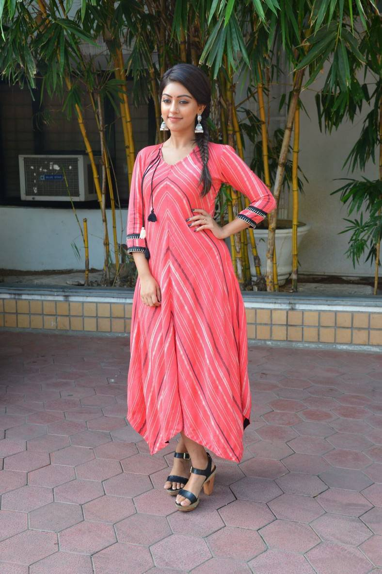 Tollywood Actress Anu Emmanuel Stills In Pink Dress