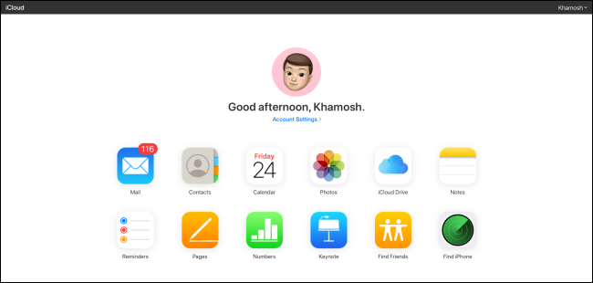 موقع iCloud الإلكتروني.