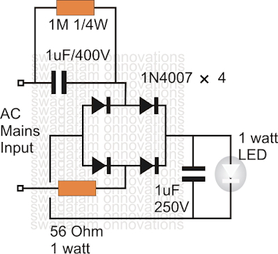 transfomerless 1 watt led driver circuit using capacitor