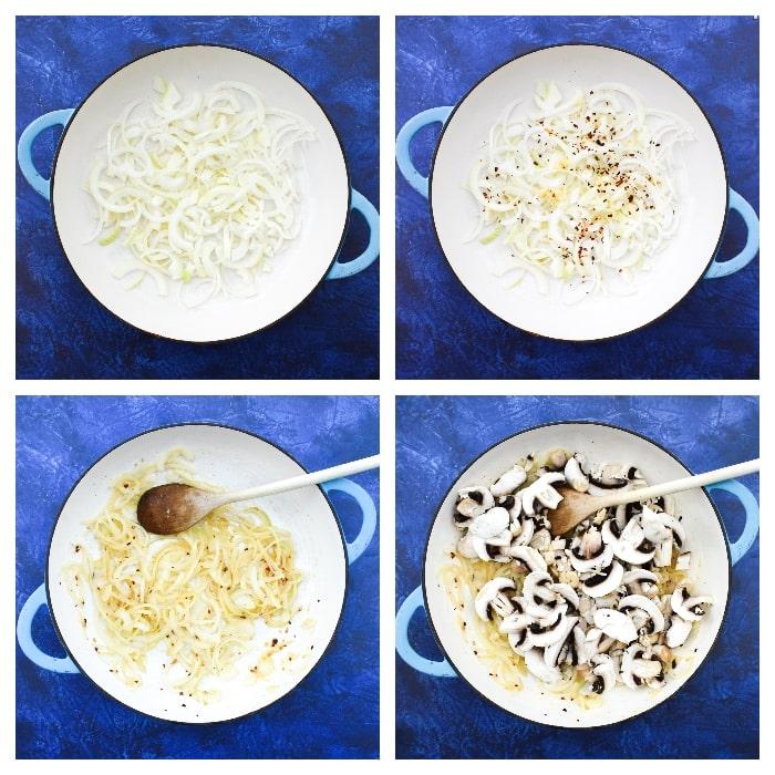 One-pot mushroom and tomato spaghetti -step one - onion and garlic