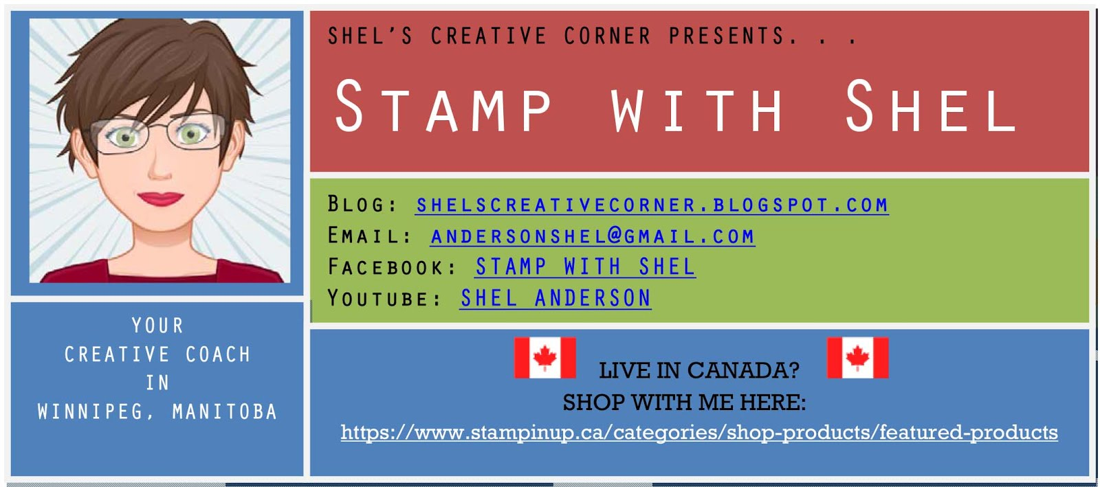 STAMP WITH SHEL  -  SHEL'S CREATIVE CORNER  -  EMAIL:  ANDERSONSHEL@GMAIL.COM