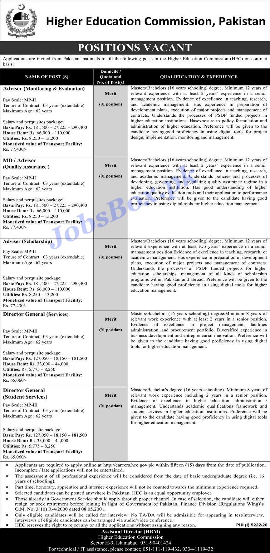 Higher Education Commission HEC Jobs 2021