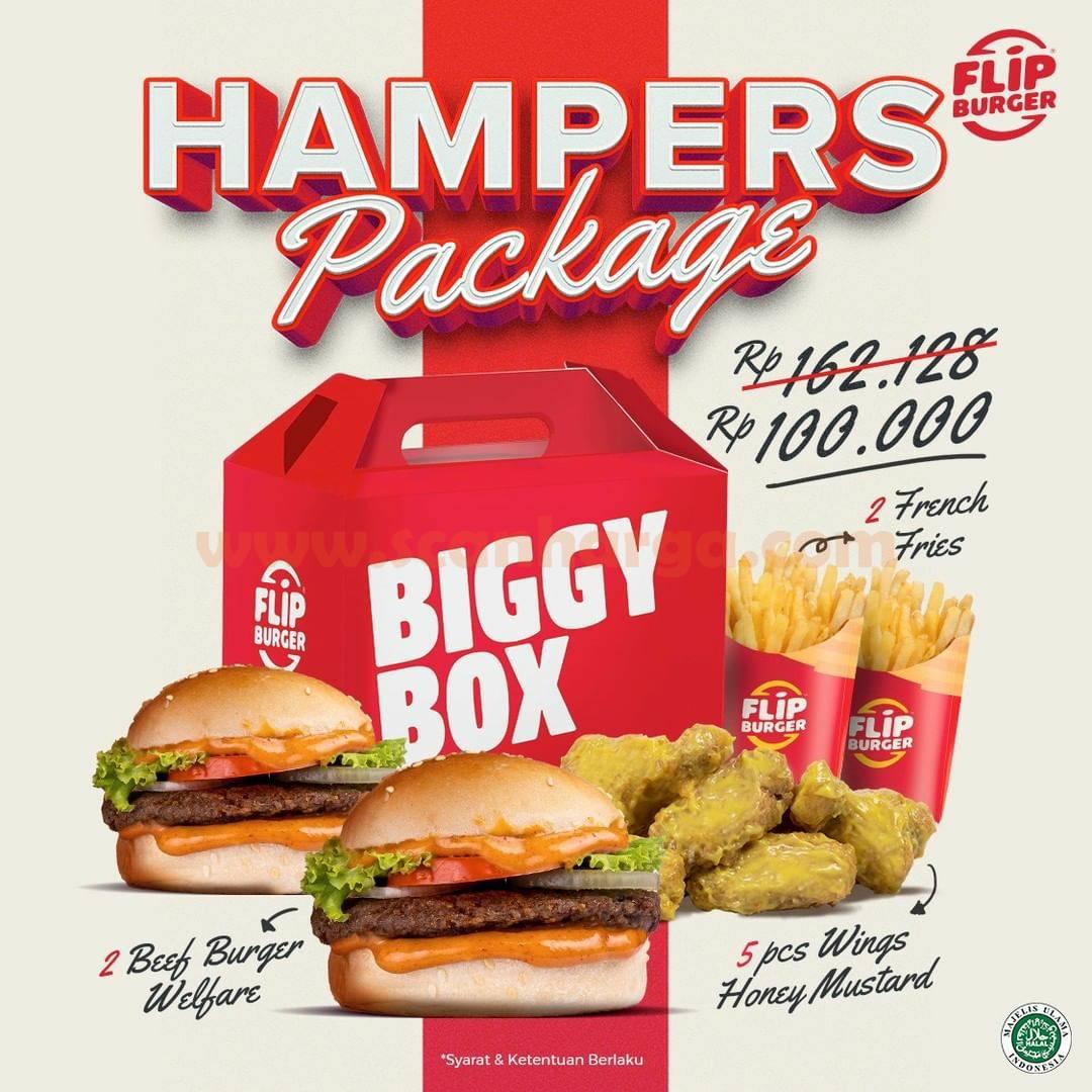 FLIP BURGER Promo HAMPERS PAKET BIG BOX harga hanya Rp 100.000,-