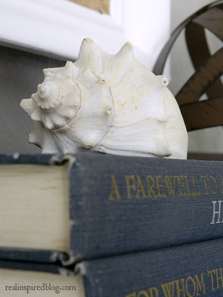 How to Decorate a Long Mantel :book, seashell