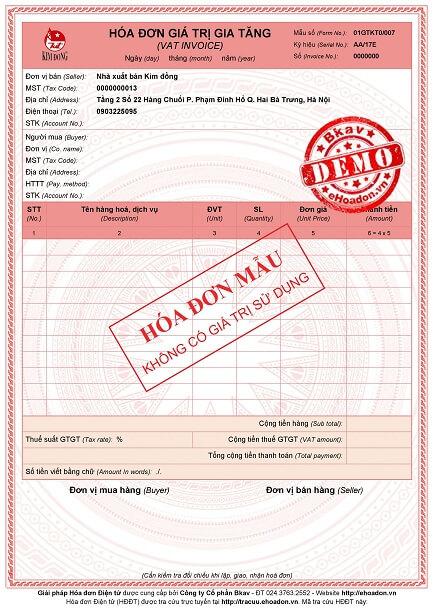 Mẫu hóa đơn điện tử Bkav