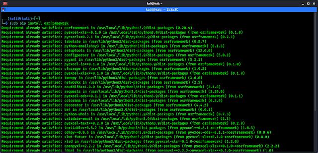 installing osrframework on kali linux