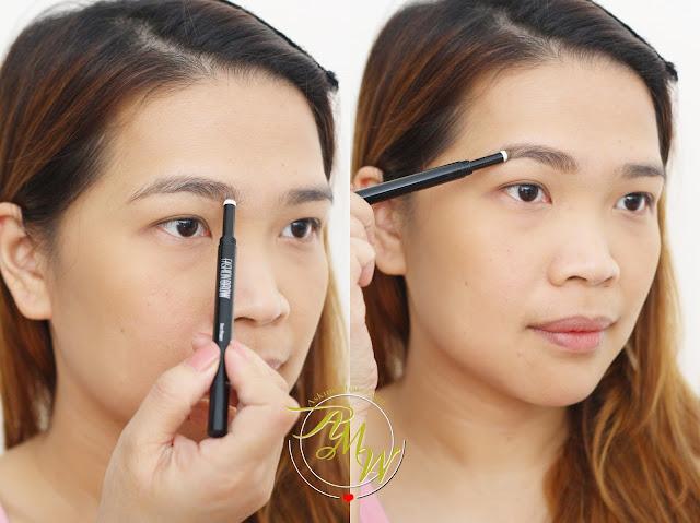 如何使用美宝莲时尚眉毛造型二人浅棕色照片。