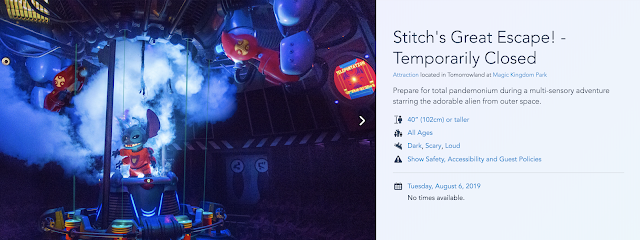 Stitch's Great Escape Temporarily Closed Disney World Website August 6th 2019