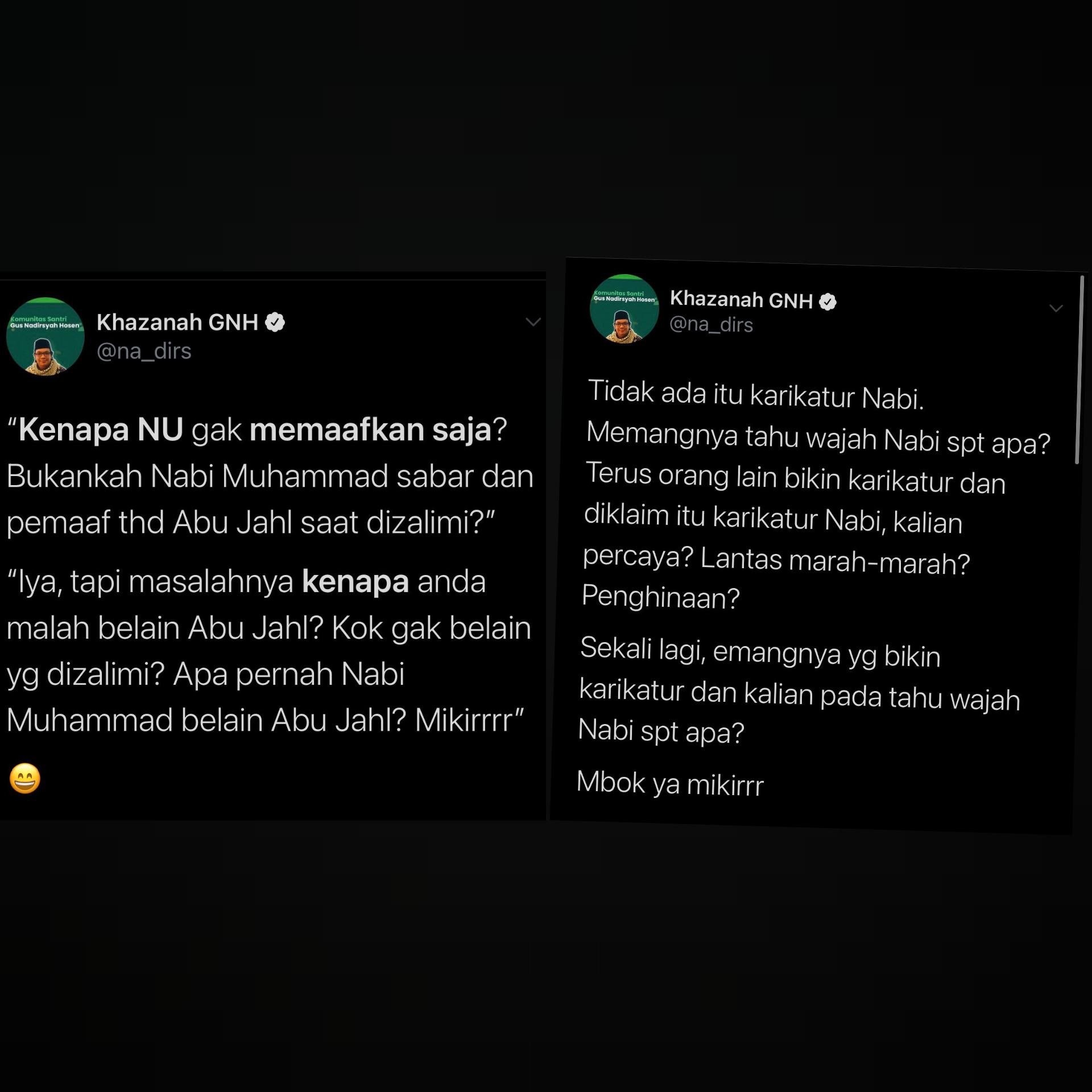 Beda Kicauan Gus Nadir Saat NU Dihina vs Islam Dihina