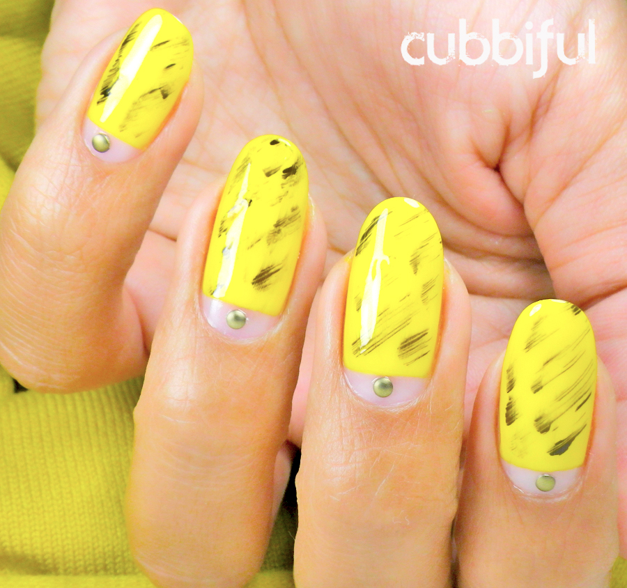 31DC2014 yellow nails with black dry brush strokes