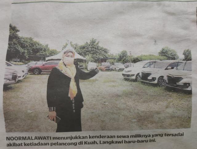 Noormalawti menunjukkan kenderaan sewa miliknya yang tersadai akibat ketiadaan pelancong di Kuah, Langkawi