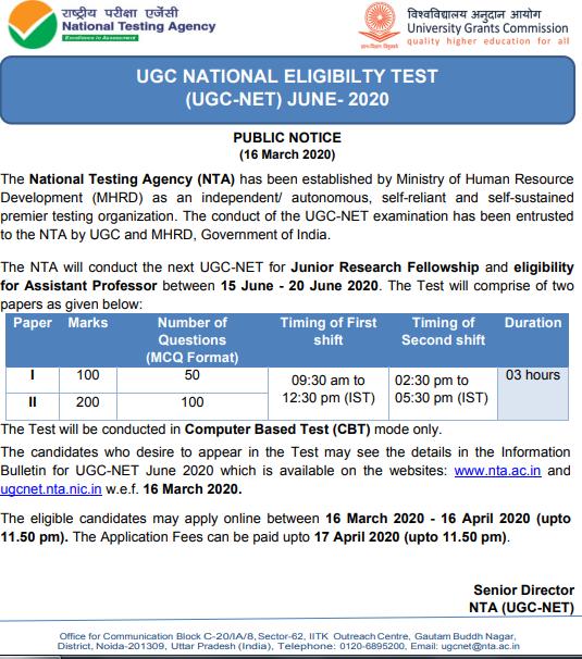 UGC NET Online Registration 2020