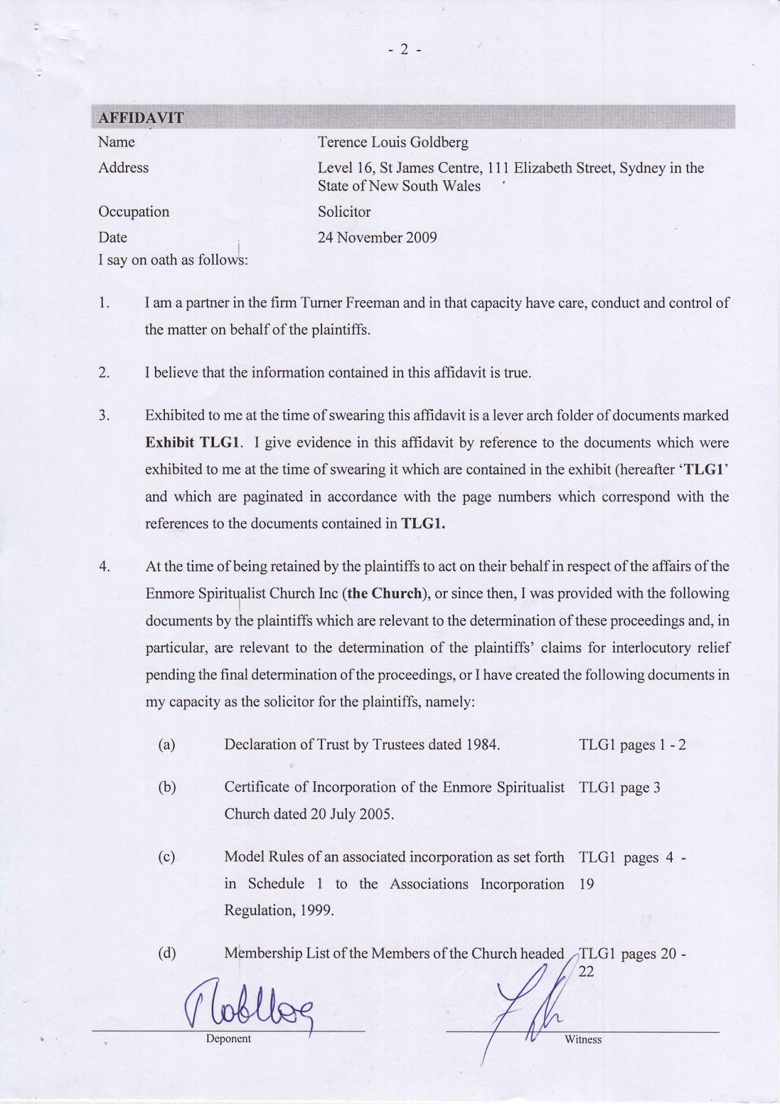 Terence Goldberg's sworn affidavit of 24 November 2009