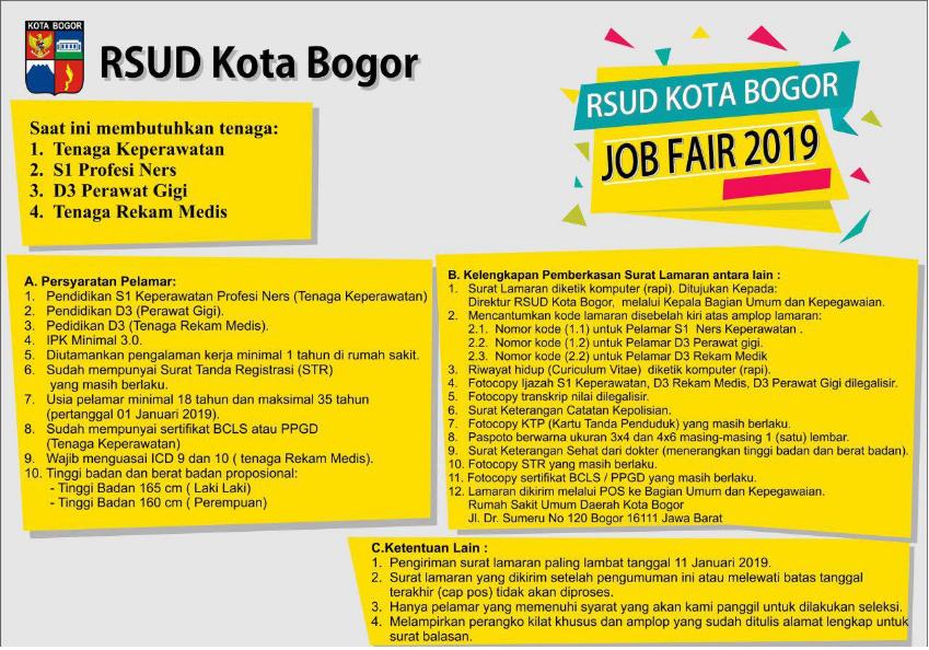 Rekrutmen Terbaru Rsud Kota Bogor Tahun 2019 Rekrutmen Lowongan