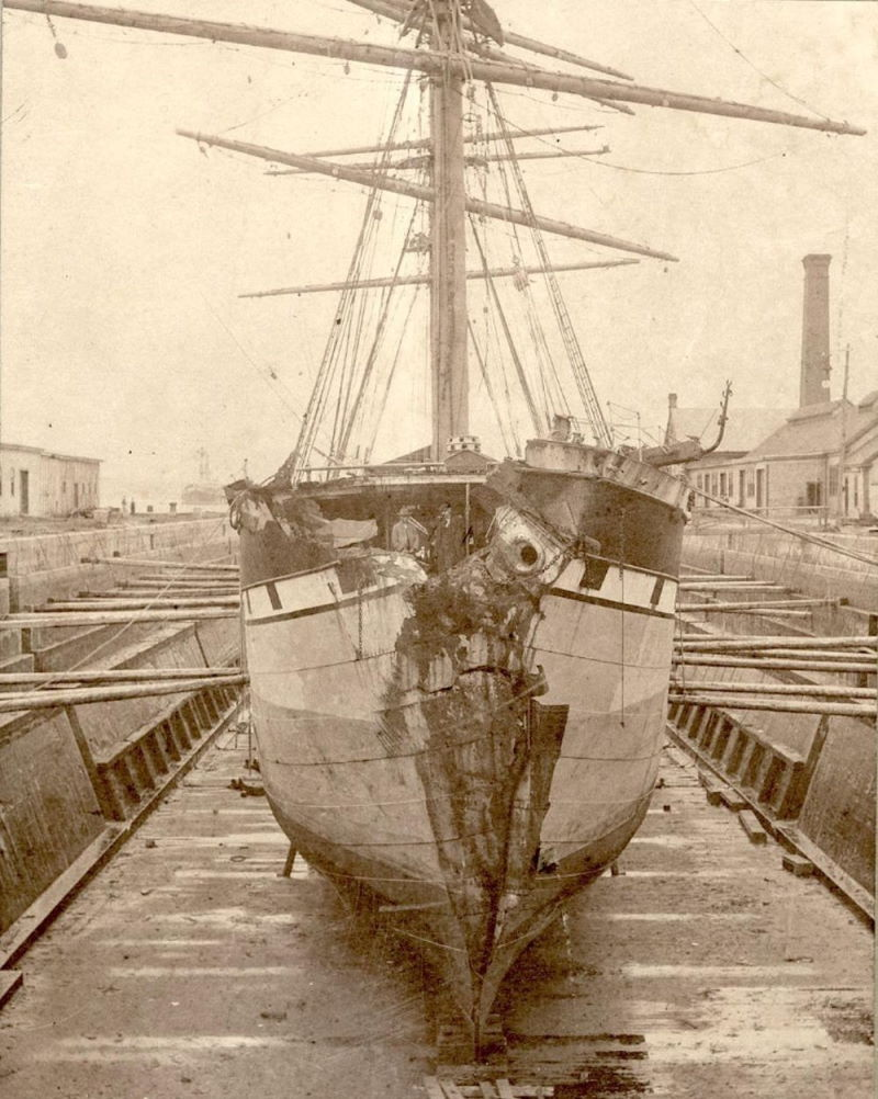 Cromartyshire's damaged bow after the collision