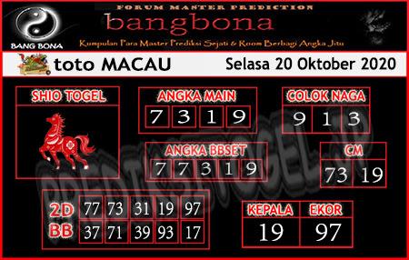 Prediksi Bangbona Toto Macau Selasa 20 Oktober 2020