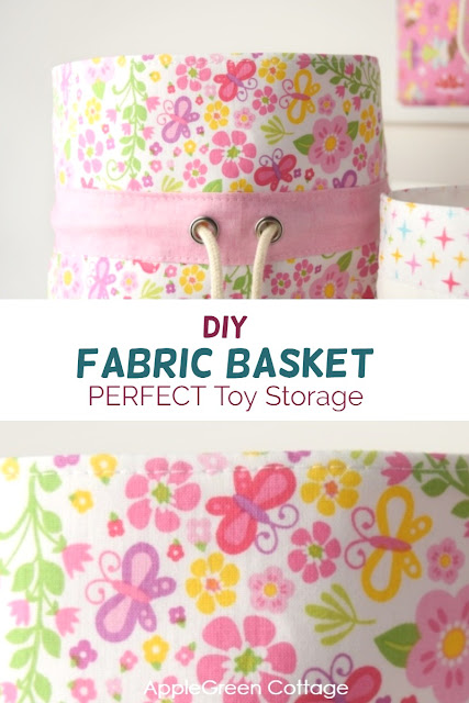 diy fabric bins for toy storage. Perfect small toys storage for your kids room you can make yourself!