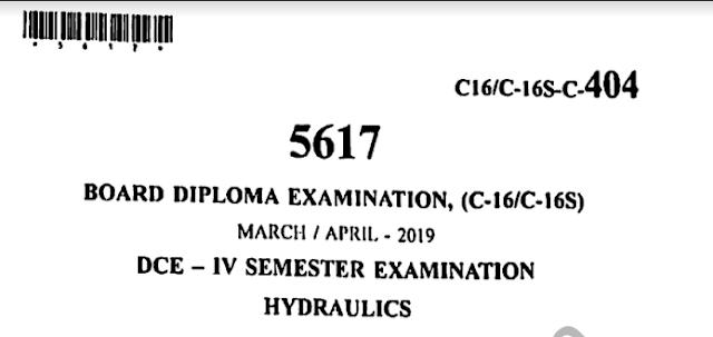 sbtet c16s 303 Hydraulics Previous Question Paper April 2019