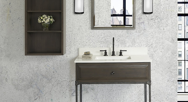 Simple and rustic, this vanity by Fairmont Designs adds style to this chic bathroom.