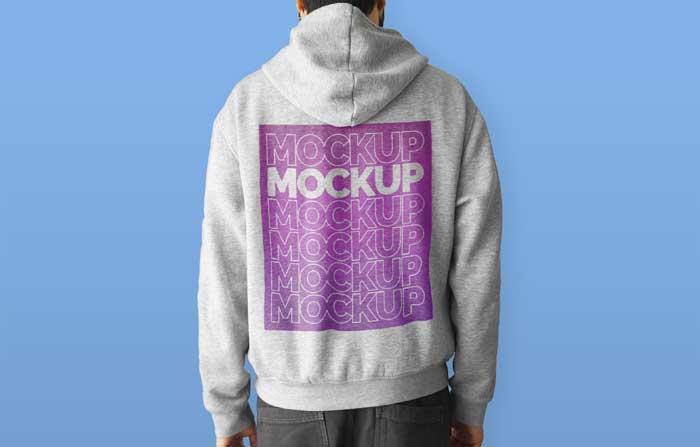 Man Wearing Hoodie Mockup
