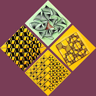 Mini Training Tiles with Tangle Patterns: Munchin, Conoor, Jobowtie, Dillo
