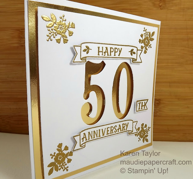 Stampin' Up! Number of Years golden anniversary card with gold heat embossing