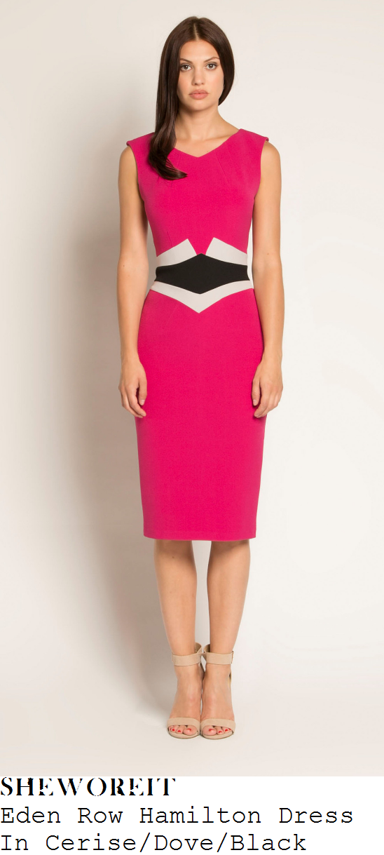 susanna-reid-eden-row-hamilton-bright-cerise-pink-dove-grey-and-black-colour-block-panel-detail-sleeveless-pencil-dress