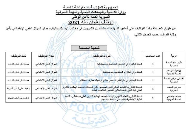 مسابقة توظيف للمستخدمين والأعوان المتعاقدين الشبيهين للشرطة 2021