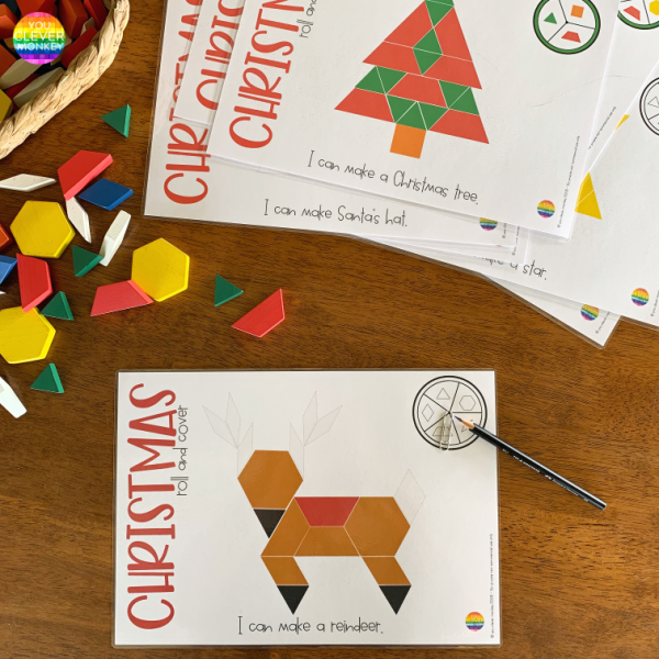 Christmas Pattern Block Spin + Cover Mats - our Christmas pattern blocks templates are the perfect holiday themed math center for your preschool or kindergarten class to help build visual discrimination and spatial awareness skills | you clever monkey