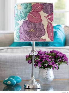 Floral cross stitch Lampshade in contemporary interior by Bobbin and Fred