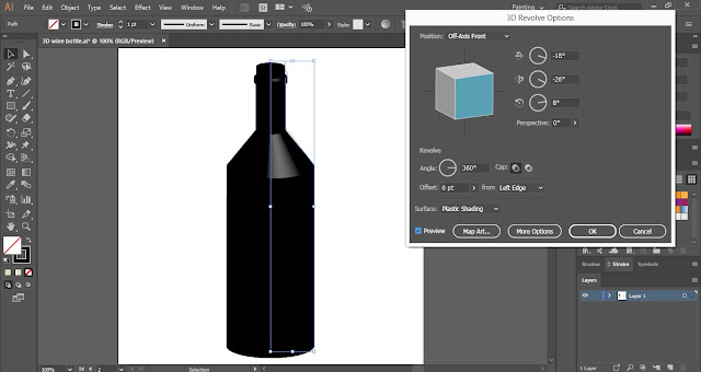 3D Wine Bottle in Adobe Illustrator