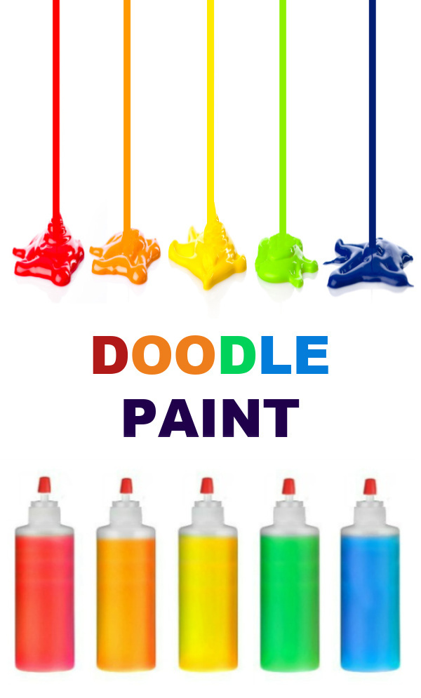 "Make doodle paint for kids using only 2 ingredients!  This ""drawing dough"" is so easy to make, and kids are sure to have a blast! #doodleart #doodlepainting #doodlepaint #drawingdough #gluecrafts #gluepainting #gluepaint #glueartforkids #coloredglue #rainbowglue #homemadepaint #homemaepaintrecipe #growingajeweledrose"