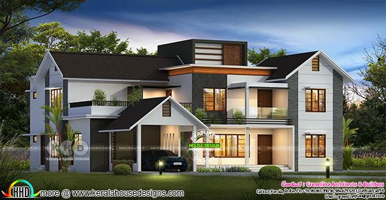 5 bedroom modern mixed roof luxury home design