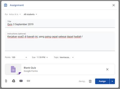 Membuat quiz di google classroom