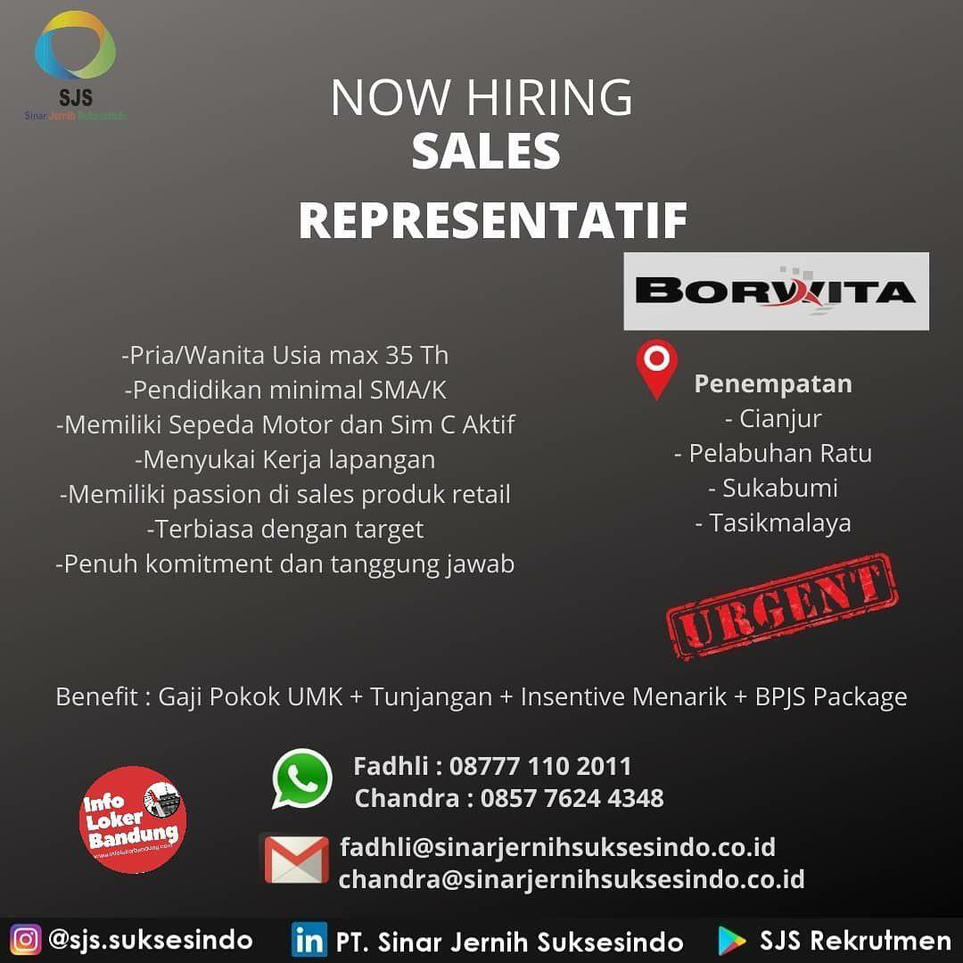 Urgent Lowongan Kerja Sales Representatif PT. Sinar Jernih Suksesindo Se-Jawa Barat Desembar 2019