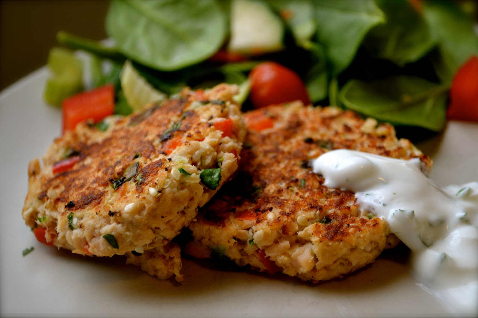 Salmon Cakes With Red Pepper Sauce