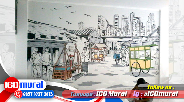 Gambar mural art design hitam putih cafe 3d igo bali for Mural untuk cafe