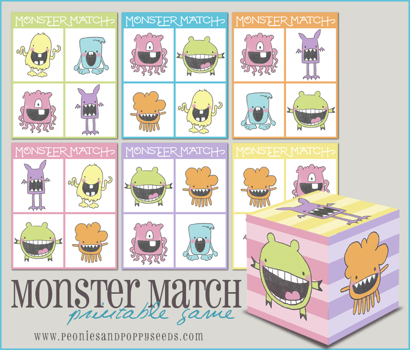 picture relating to Printable Match Game titled Monster Sport: Printable Matching Match Dorky Doodles